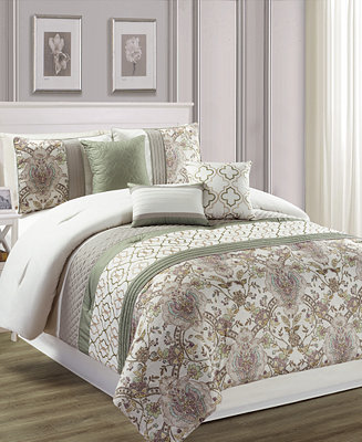 Hallmart Collectibles Encino 7 Pc Queen Comforter Set