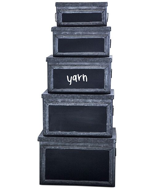 3R Studio Set of 5 Metal Bins with Chalkboard Fronts
