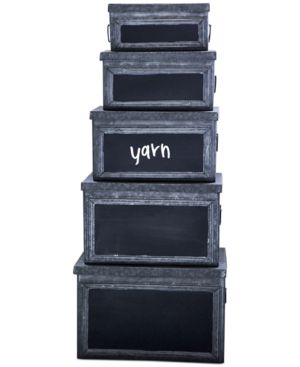 Set of 5 Metal Bins with Chalkboard Fronts 4502400
