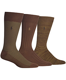Polo Ralph Lauren Men's Birdseye Dress Socks, 3 Pack