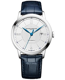 Men's Swiss Automatic Classima Navy Leather Strap Watch 42mm M0A10333