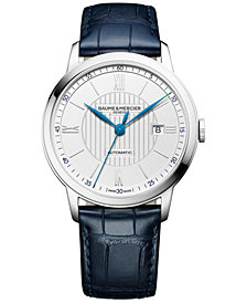 Baume & Mercier Men's Swiss Automatic Classima Navy Leather Strap Watch 42mm M0A10333