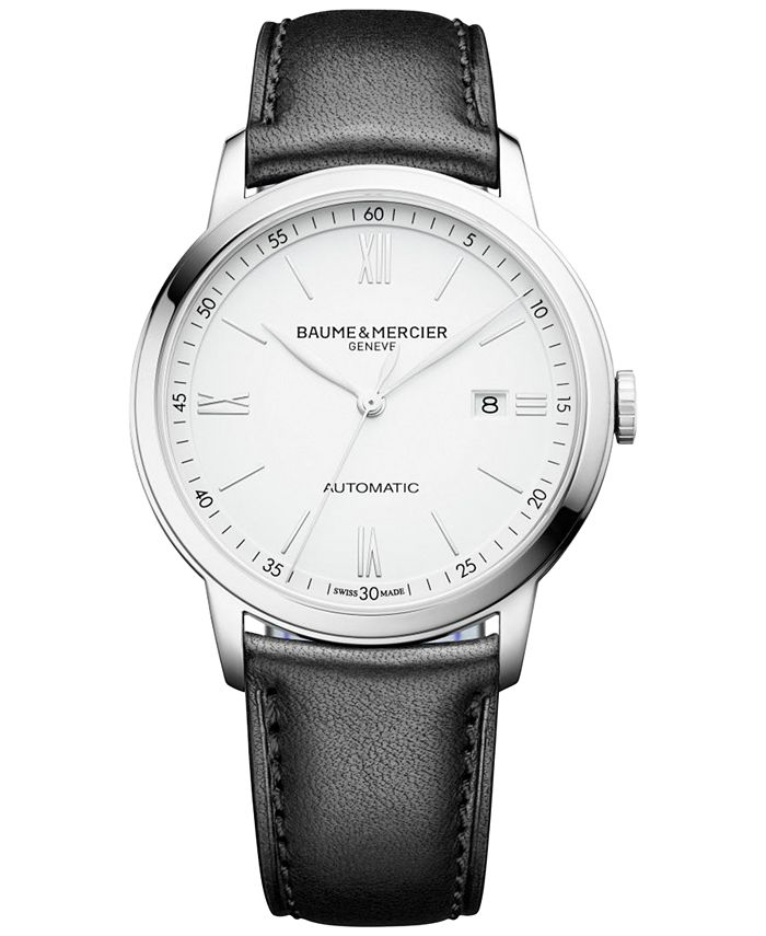 Baume & Mercier - Men's Swiss Automatic Classima Black Leather Strap Watch 42mm M0A10332