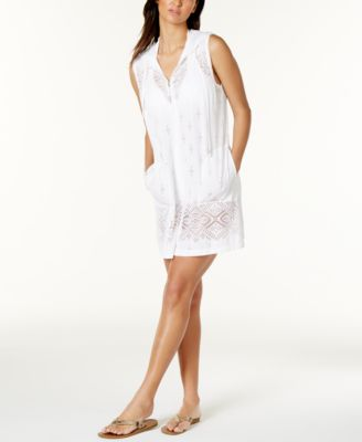 Image of Dotti Hooded Laser-Cutout Zip-Front Cover Up
