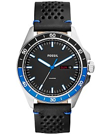fossil watches macy s fossil men s sport 54 black leather strap watch 44mm fs5321