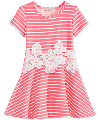 BTween Floral-Embroidered Striped Skater Dress, Little Girls (2-6X)