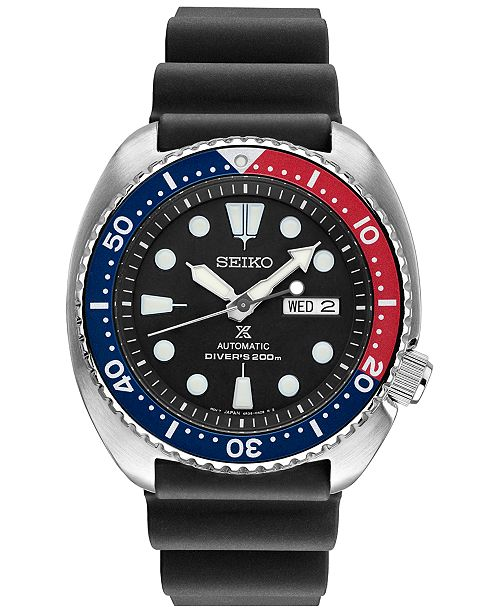Seiko Men's Prospex Automatic Diver Black Silicone Strap Watch 45mm SRP779