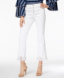 INC Cropped Fringe-Trim Jeans, Created for Macy's