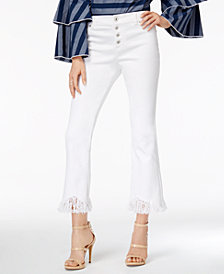 I.N.C. Fringe-Trim Curvy Cropped Jeans, Created for Macy's