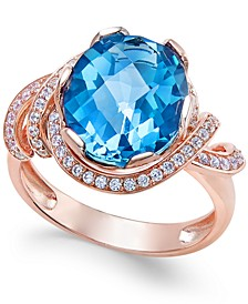 London Blue Topaz (4-9/10 ct. t.w.) and White Topaz (1/3 ct. t.w.) Ring in 14k Rose Gold-Plated Sterling Silver