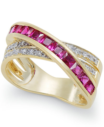 Certified Ruby (1-1/3 ct. t.w.) and Diamond (1/8 ct. t.w.) Crisscross Ring in 14k Gold
