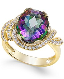 Mystic Topaz (4-9/10 ct. t.w.) and White Topaz (1/3 ct. t.w.) Ring in 14k Gold-Plated Sterling Silver