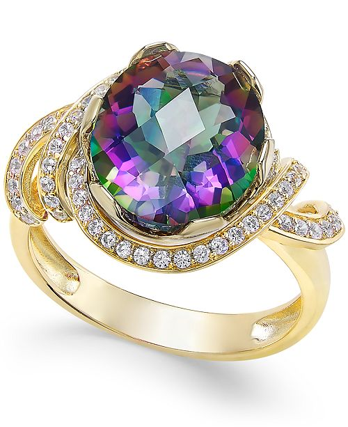 Macy's Mystic Topaz (4-9/10 ct. t.w.) and White Topaz (1/3 ct. t.w.) Ring in 14k Gold-Plated Sterling Silver