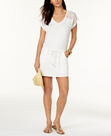 Calvin Klein Crochet-Shoulder Tunic Cover Up