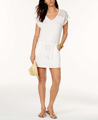 Calvin Klein Crochet-Shoulder Tunic Cover Up,Created for Macy's Style