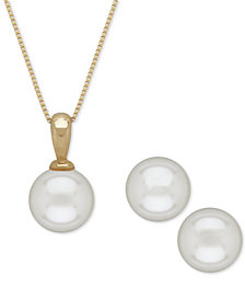 Akoya Cultured Pearl (6mm) Pendant Necklace and Matching Stud Earrings Set in 14k Gold