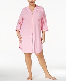 Plus Size Three-Quarter-Sleeve Printed Cotton Sleepshirt Nightgown