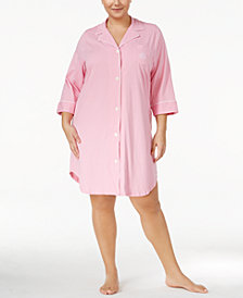 Lauren Ralph Lauren Plus Size Three-Quarter-Sleeve Printed Cotton Sleepshirt