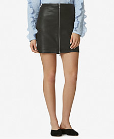 Avec Les Filles High-Waist Zip-Front Leather Mini Skirt