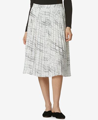 Avec Les Filles Pleated Printed Midi Skirt