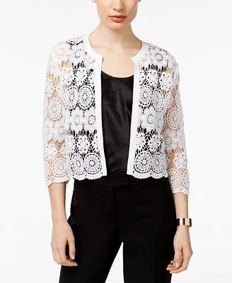 Anne Klein Cotton Sheer Crochet Cardigan - Sweaters - Women - Macy's