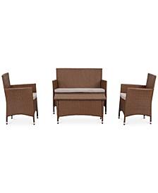 Ganton Outdoor 4-Pc. Seating Set (1 Loveseat, 2 Chairs & 1 Coffee Table)