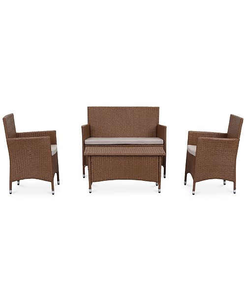 Ganton Outdoor 4-Pc. Seating Set (1 Loveseat, 2 Chairs & 1 Coffee Table), Quick Ship