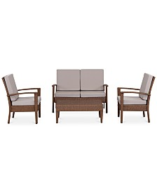 Harwin Outdoor 4-Pc. Seating Set (1 Loveseat, 2 Chairs & 1 Coffee Table), Quick Ship