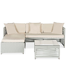 Nylsen Outdoor 3-Pc. Seating Set (1 Sofa, 1 Lounger & 1 Coffee Table), Quick Ship