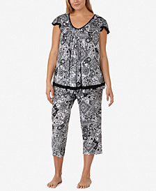 Ellen Tracy Plus Size Yours to Love Short Sleeve Top and Capri Pajama Pants Separates