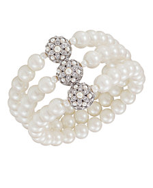 Carolee Bracelet, Glass Pearl Three Row
