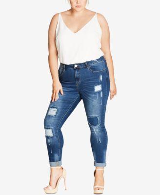 City Chic Petite Plus Size Black Wash Skinny Jeans - Jeans - Plus ...