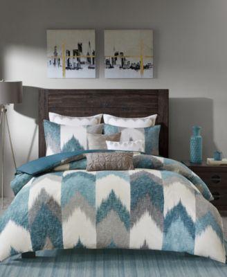 CLOSEOUT! Alpine Reversible Full/Queen Chevron Stripe Print Comforter Mini Set