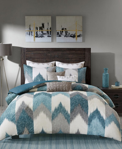 CLOSEOUT! INK+IVY Alpine Reversible Full/Queen Chevron Stripe Print Comforter Mini Set