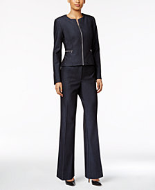 Calvin Klein Peplum-Back Denim Blazer & Trousers