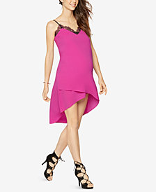 BCBGMAXAZRIA Maternity Lace-Trim High-Low Dress