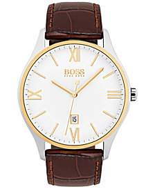 BOSS Hugo Boss Men's Governor Dark Brown Leather Strap Watch 44mm 1513486