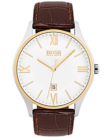 BOSS Hugo Boss Men's Governor Dark Brown Leather Strap Watch 44mm 1513486