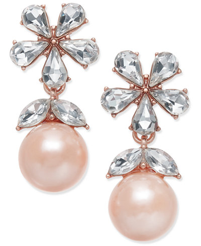 Charter Club Crystal & Imitation Pearl Drop Earrings, Created for Macy's