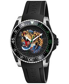 Gucci Men's Swiss Dive Black Rubber Strap Watch 40mm YA136318