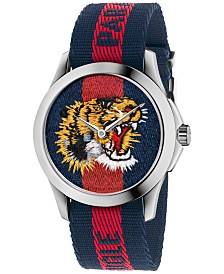 Gucci Unisex Swiss Le Marché Des Merveilles Unisex Blue and Red Nylon Strap Watch 38mm YA126495