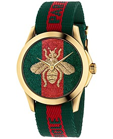 Unisex Swiss Le Marché Des Merveilles Green & Red Striped Nylon Strap Watch 38mm YA126487