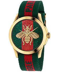 Gucci Unisex Swiss Le Marché Des Merveilles Green & Red Striped Nylon Strap Watch 38mm YA126487