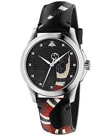 Gucci Unisex Swiss Le Marché Des Merveilles Gray Leather Strap Watch 38mm