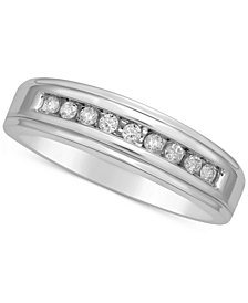Men's Diamond Channel Set Band (1/5 ct. t.w.) in 14k White Gold