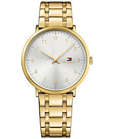 Tommy Hilfiger Men's Ultra Slim Gold-Tone Stainless Steel Strap Watch 40mm 1791337
