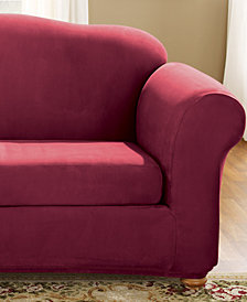 Sure Fit Stretch Faux Suede 2-Piece Loveseat Slipcover