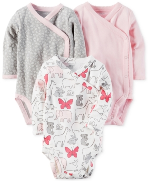 Carters 3Pk Cotton SideSnap Bodysuits Baby Girls (024 months)