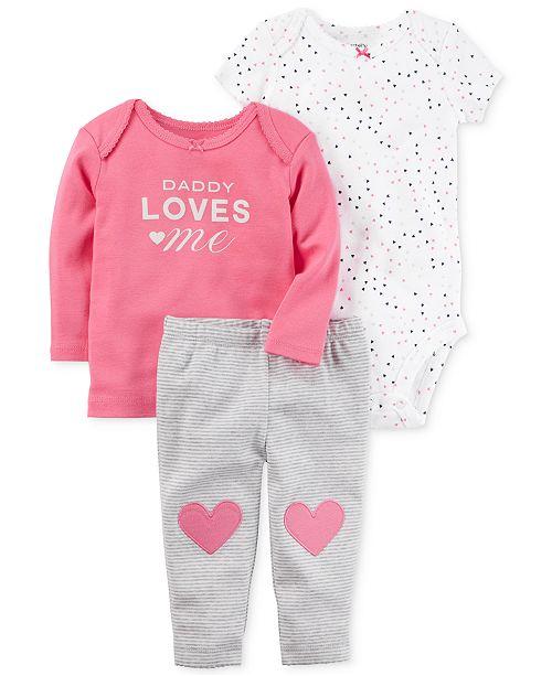78f8a885da73 Carter's 3-Pc. Cotton Daddy Loves Me T-Shirt, Bodysuit & Pants Set ...