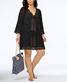 La Blanca Plus Size Cotton Sheer Crochet-Trim Cover-Up